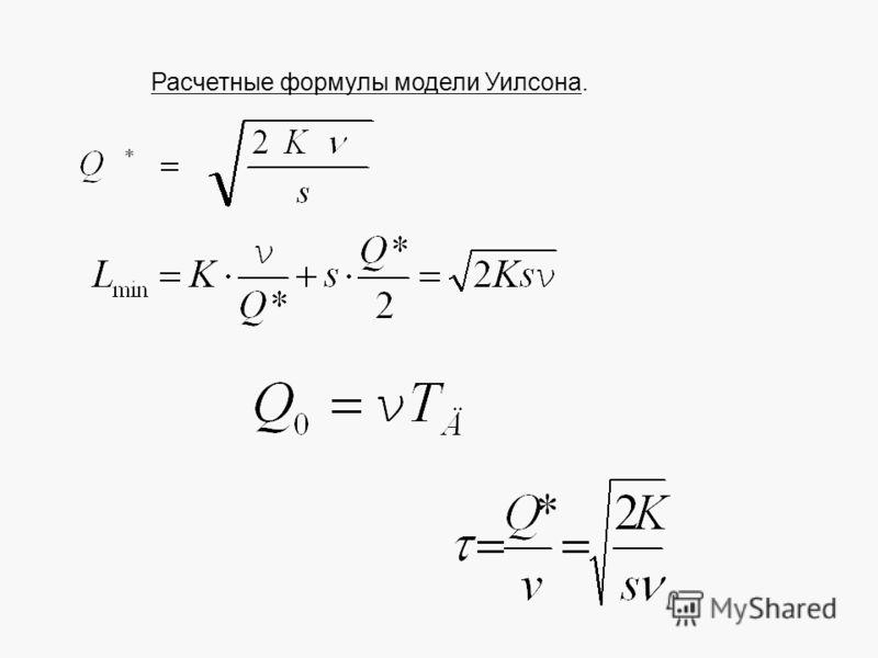 Расчетные формулы модели Уилсона.