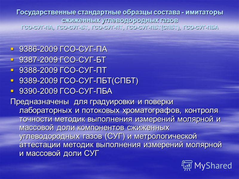 Государственные стандартные образцы состава - имитаторы сжиженных углеводородных газов ГСО-СУГ-ПА, ГСО-СУГ-БТ, ГСО-СУГ-ПТ, ГСО-СУГ-ПБТ(СПБТ), ГСО-СУГ-ПБА 9386-2009 ГСО-СУГ-ПА 9386-2009 ГСО-СУГ-ПА 9387-2009 ГСО-СУГ-БТ 9387-2009 ГСО-СУГ-БТ 9388-2009 ГС