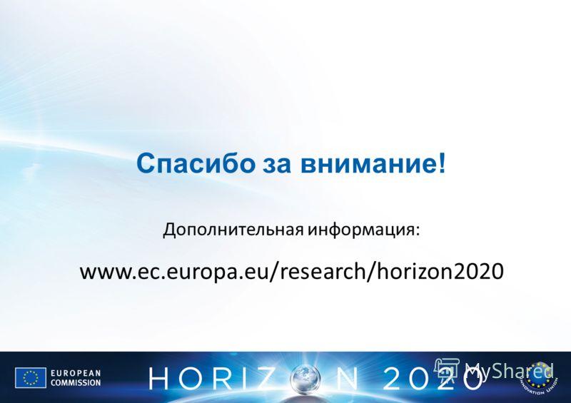 Спасибо за внимание! Дополнительная информация: www.ec.europa.eu/research/horizon2020