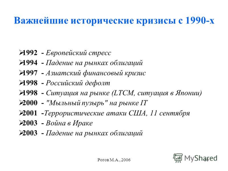 Рогов М.А., 200610 Важнейшие исторические кризисы с 1990-х 1992 - Европейский стресс 1994 - Падение на рынках облигаций 1997 - Азиатский финансовый кризис 1998 - Российский дефолт 1998 - Ситуация на рынке (LTCM, ситуация в Японии) 2000 -