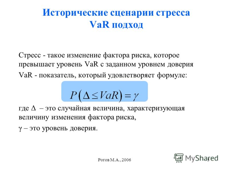Рогов М.А., 20065 Исторические сценарии стресса VaR подход Стресс - такое изменение фактора риска, которое превышает уровень VaR с заданном уровнем доверия VaR - показатель, который удовлетворяет формуле: где Δ – это случайная величина, характеризующ