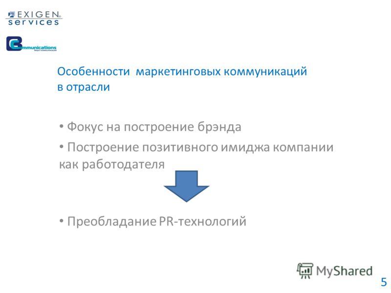 Особенности маркетинговых коммуникаций в отрасли Фокус на построение брэнда Построение позитивного имиджа компании как работодателя Преобладание PR-технологий 5