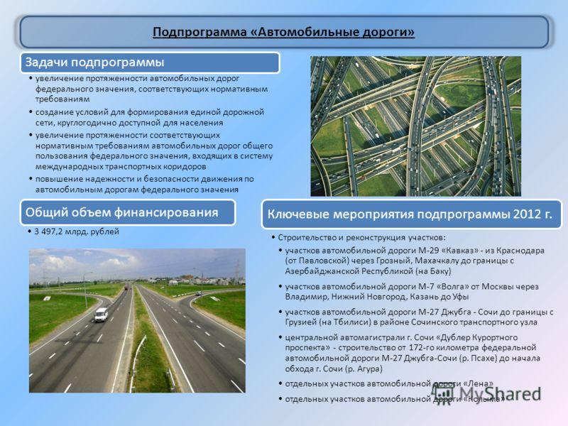 Подпрограмма «Автомобильные дороги» Задачи подпрограммы увеличение протяженности автомобильных дорог федерального значения, соответствующих нормативным требованиям создание условий для формирования единой дорожной сети, круглогодично доступной для на