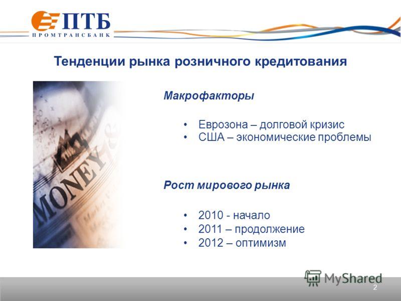 2 Тенденции рынка розничного кредитования Макрофакторы Еврозона – долговой кризис США – экономические проблемы Рост мирового рынка 2010 - начало 2011 – продолжение 2012 – оптимизм
