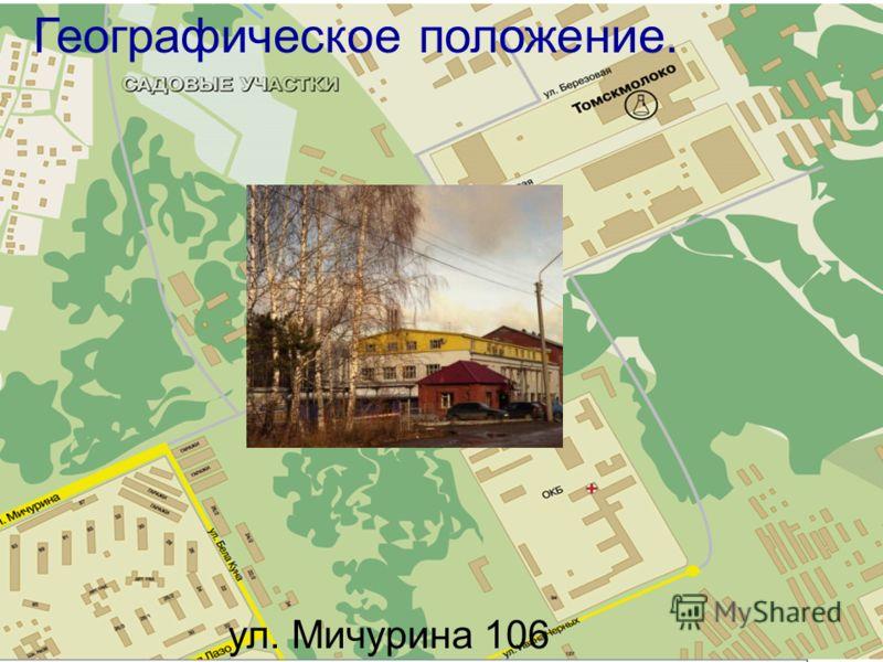Географическое положение. ул. Мичурина 106