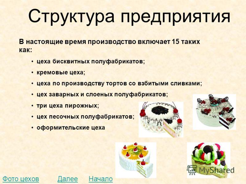 Структура предприятия В настоящие время производство включает 15 таких как: цеха бисквитных полуфабрикатов; кремовые цеха; цеха по производству тортов со взбитыми сливками; цех заварных и слоеных полуфабрикатов; три цеха пирожных; цех песочных полуфа