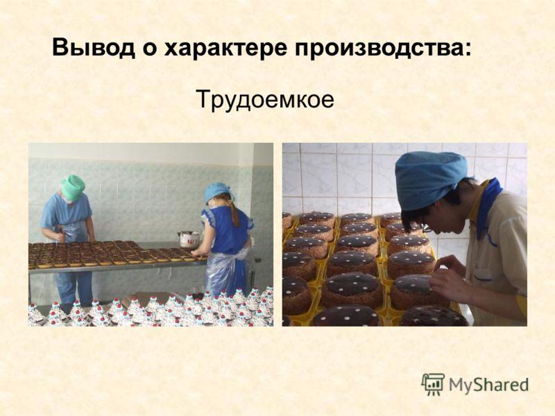 Трудоемкое Вывод о характере производства: