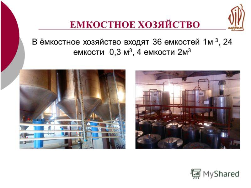 ЕМКОСТНОЕ ХОЗЯЙСТВО В ёмкостное хозяйство входят 36 емкостей 1м 3, 24 емкости 0,3 м 3, 4 емкости 2м 3