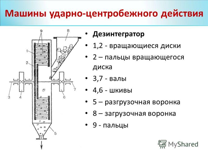 Дезинтегратор 1,2 - вращающиеся диски 2 – пальцы вращающегося диска 3,7 - валы 4,6 - шкивы 5 – разгрузочная воронка 8 – загрузочная воронка 9 - пальцы Машины ударно-центробежного действия