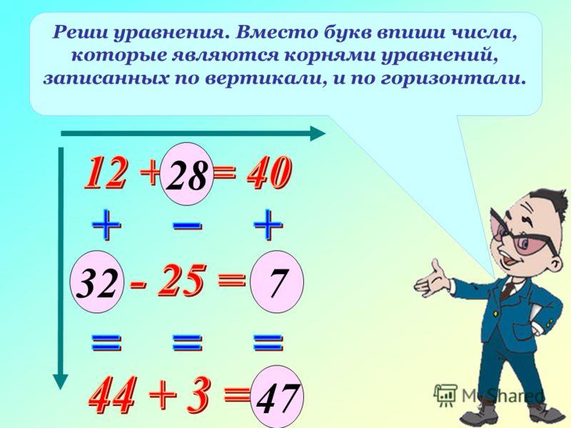 Реши уравнения. Вместо букв впиши числа, которые являются корнями уравнений, записанных по вертикали, и по горизонтали. 47 28 327
