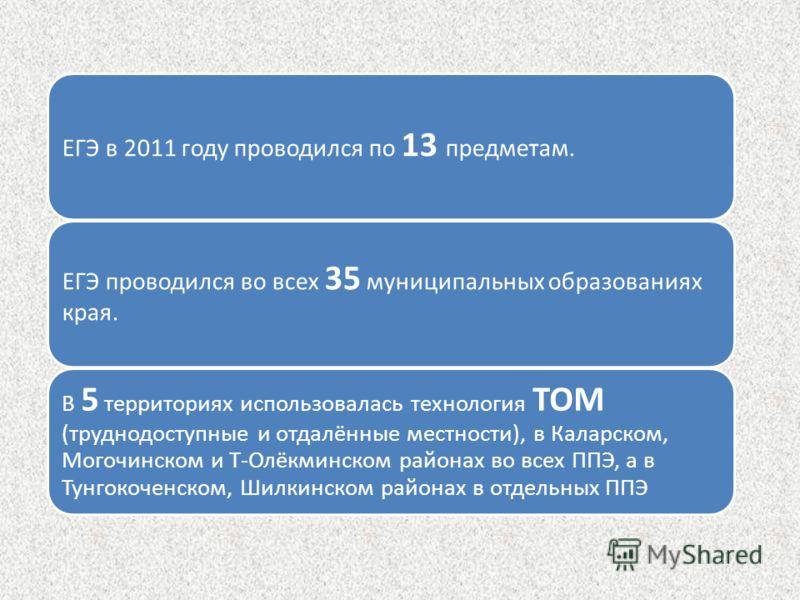 ЕГЭ в 2011 году проводился по 13 предметам. ЕГЭ проводился во всех 35 муниципальных образованиях края. В 5 территориях использовалась технология ТОМ (труднодоступные и отдалённые местности), в Каларском, Могочинском и Т-Олёкминском районах во всех ПП