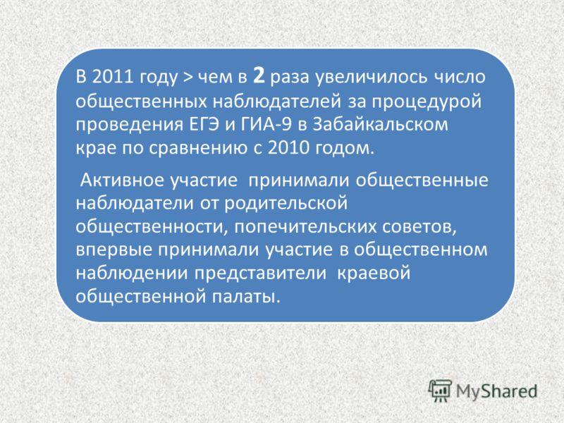 В 2011 году > чем в 2 раза увеличилось число общественных наблюдателей за процедурой проведения ЕГЭ и ГИА-9 в Забайкальском крае по сравнению с 2010 годом. Активное участие принимали общественные наблюдатели от родительской общественности, попечитель