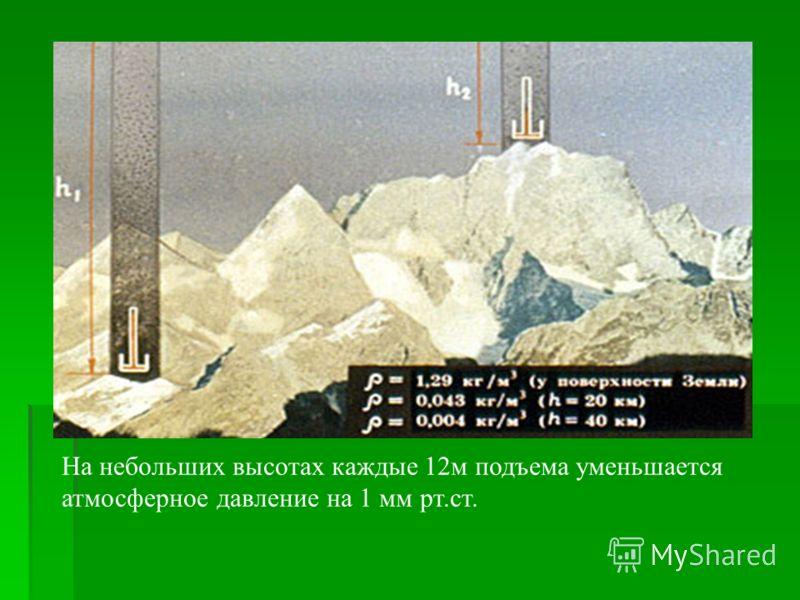 На небольших высотах каждые 12м подъема уменьшается атмосферное давление на 1 мм рт.ст.