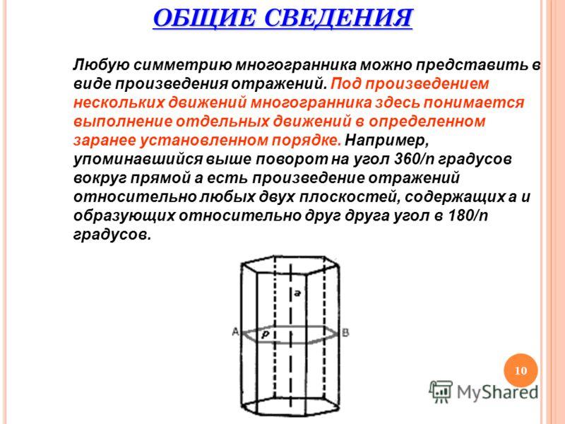 10 ОБЩИЕ СВЕДЕНИЯ Любую симметрию многогранника можно представить в виде произведения отражений. Под произведением нескольких движений многогранника здесь понимается выполнение отдельных движений в определенном заранее установленном порядке. Например