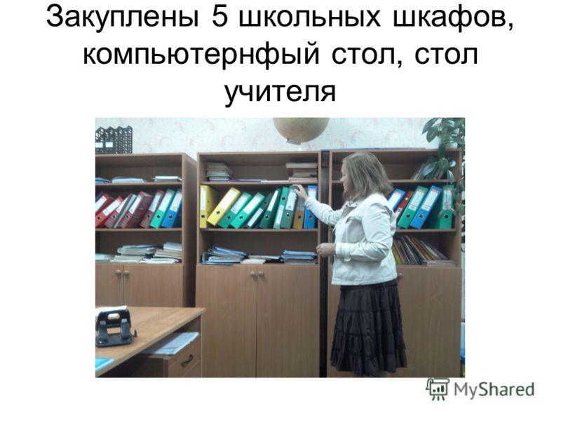 Закуплены 5 школьных шкафов, компьютернфый стол, стол учителя