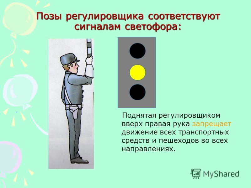 Позы регулировщика соответствуют сигналам светофора: - Руки регулировщика опущены или вытянуты в стороны – со стороны груди и спины движение всех транспортных средств и пешеходов запрещено.