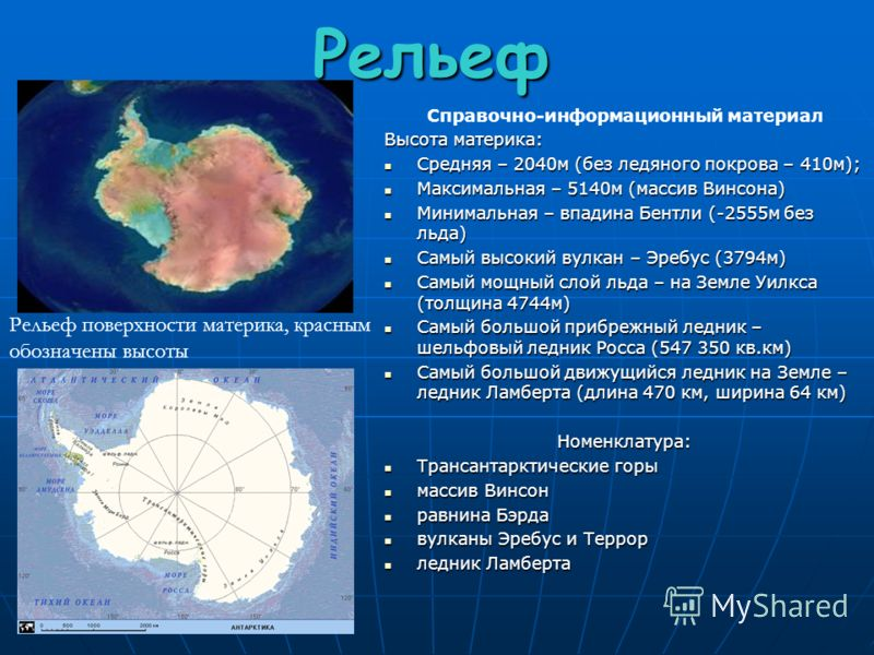 Рельеф Справочно-информационный материал Высота материка: Средняя – 2040м (без ледяного покрова – 410м); Максимальная – 5140м (массив Винсона) Минимальная – впадина Бентли (-2555м без льда) Самый высокий вулкан – Эребус (3794м) Самый мощный слой льда