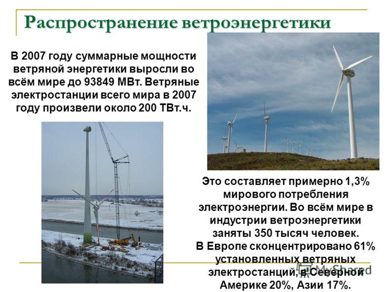 Распространение ветроэнергетики В 2007 году суммарные мощности ветряной энергетики выросли во всём мире до 93849 МВт. Ветряные электростанции всего мира в 2007 году произвели около 200 ТВт.ч. Это составляет примерно 1,3% мирового потребления электроэ