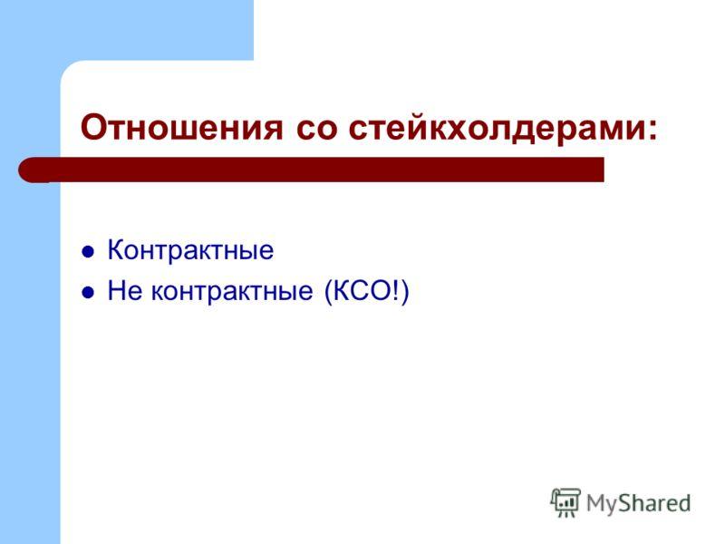 Отношения со стейкхолдерами: Контрактные Не контрактные (КСО!)