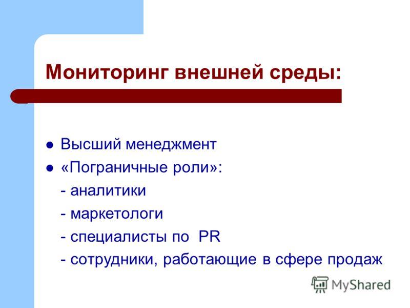 Мониторинг внешней среды: Высший менеджмент «Пограничные роли»: - аналитики - маркетологи - специалисты по PR - сотрудники, работающие в сфере продаж