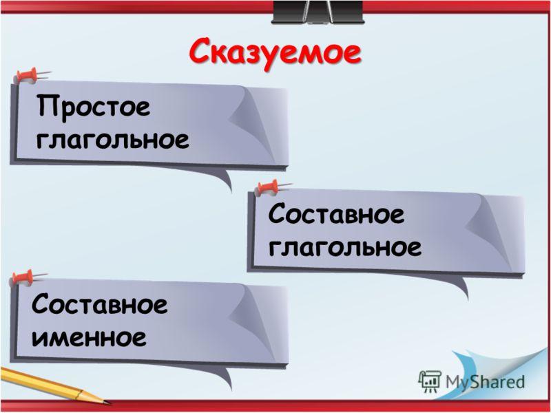 Сказуемое Простое глагольное Составное глагольное Составное именное