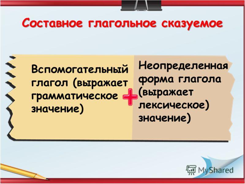 Составное глагольное сказуемое Вспомогательный глагол (выражает грамматическое значение) Неопределенная форма глагола (выражает лексическое) значение)