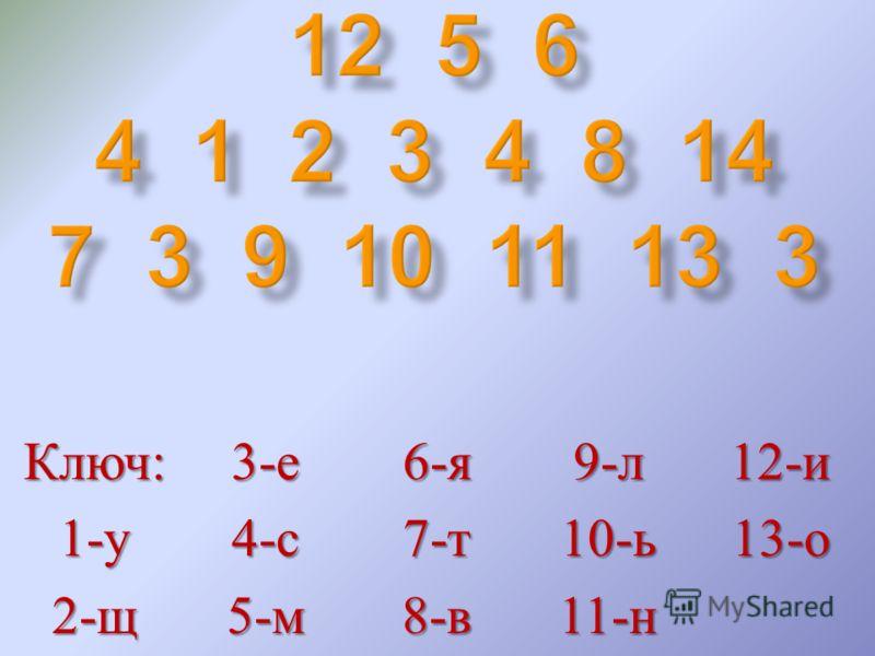 Ключ : 1- у 2- щ 3- е 4- с 5- м 6- я 7- т 8- в 9- л 10- ь 11- н 12- и 13- о