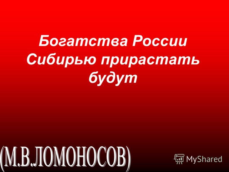 Богатства России Сибирью прирастать будут