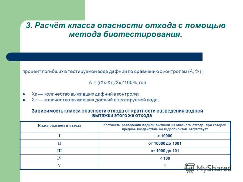3. Расчёт класса опасности отхода с помощью метода биотестирования. процент погибших в тестируемой воде дафний по сравнению с контролем (А, %) : А = ((Хк-Хт)/Хк)*100%, где Хк количество выживших дафний в контроле; Xт количество выживших дафний в тест