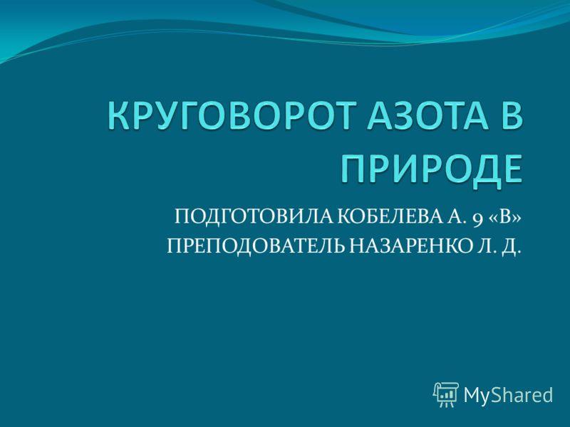 ПОДГОТОВИЛА КОБЕЛЕВА А. 9 «В» ПРЕПОДОВАТЕЛЬ НАЗАРЕНКО Л. Д.