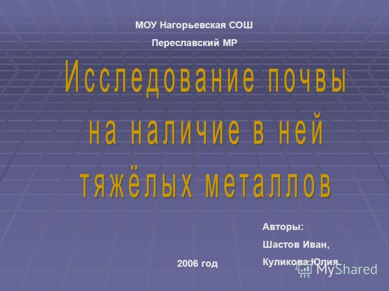 МОУ Нагорьевская СОШ Переславский МР 2006 год Авторы: Шастов Иван, Куликова Юлия.