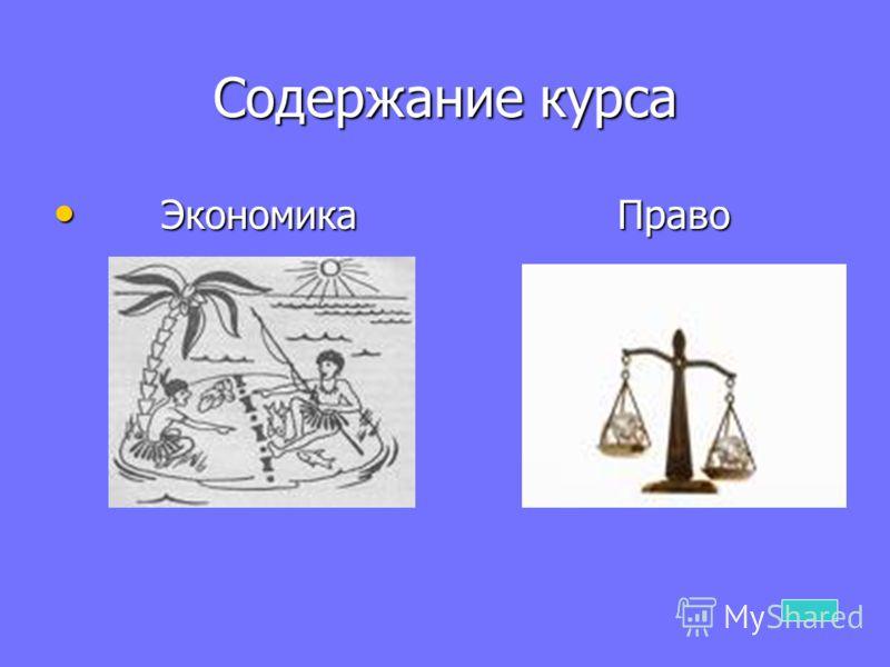 Содержание курса Экономика Право Экономика Право