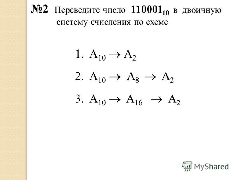 2 Переведите число 110001 10 в двоичную систему счисления по схеме 1.А 10 А 2 2.А 10 А 8 A 2 3.А 10 A 16 A 2