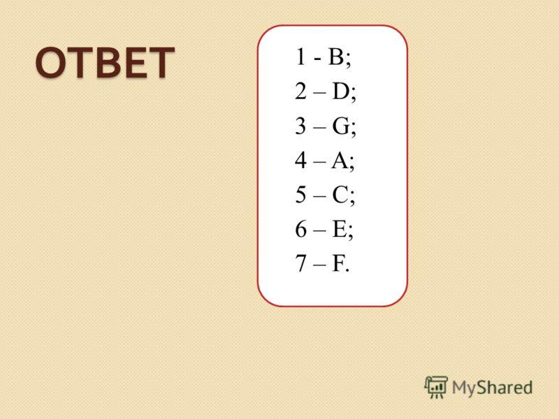 ОТВЕТ 1 - B; 2 – D; 3 – G; 4 – A; 5 – C; 6 – E; 7 – F.
