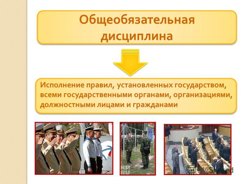 Общеобязательная дисциплина Исполнение правил, установленных государством, всеми государственными органами, организациями, должностными лицами и гражданами