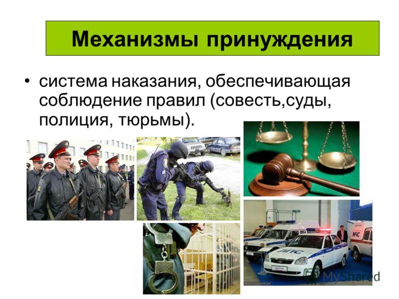 Механизмы принуждения система наказания, обеспечивающая соблюдение правил (совесть,суды, полиция, тюрьмы).