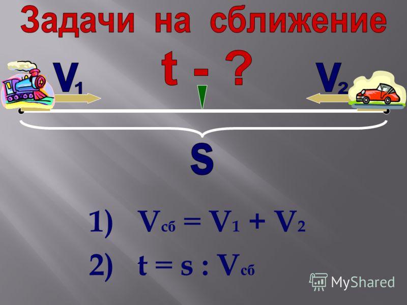 1) V c б = V 1 + V 2 2) t = s : V сб