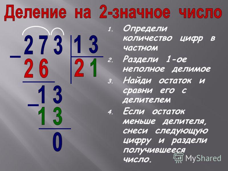 1. Определи количество цифр в частном 2. Раздели 1-ое неполное делимое 3. Найди остаток и сравни его с делителем 4. Если остаток меньше делителя, снеси следующую цифру и раздели получившееся число.