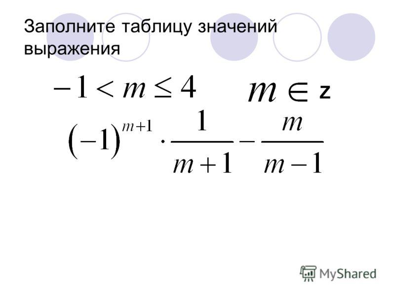 Заполните таблицу значений выражения Z