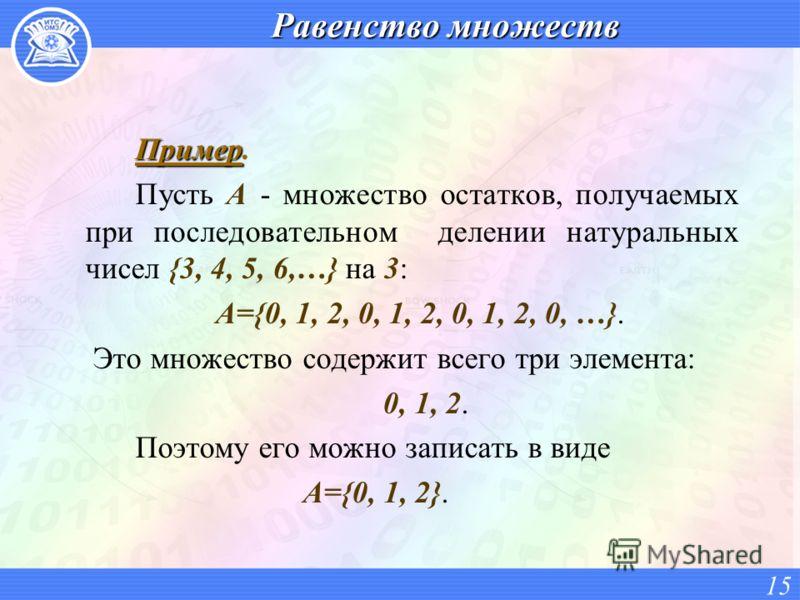 Равенство множеств Пример Пример. Пусть A - множество остатков, получаемых при последовательном делении натуральных чисел {3, 4, 5, 6,…} на 3: A={0, 1, 2, 0, 1, 2, 0, 1, 2, 0, …}. Это множество содержит всего три элемента: 0, 1, 2. Поэтому его можно