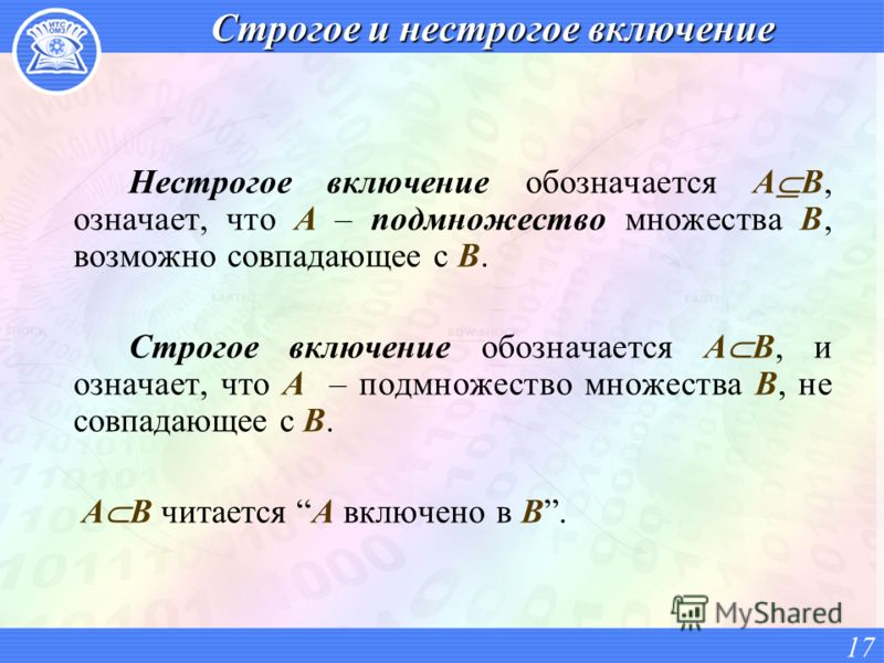 Строгое и нестрогое включение Нестрогое включение обозначается А В, означает, что А – подмножество множества В, возможно совпадающее с В. Строгое включение обозначается А В, и означает, что А – подмножество множества В, не совпадающее с B. А В читает