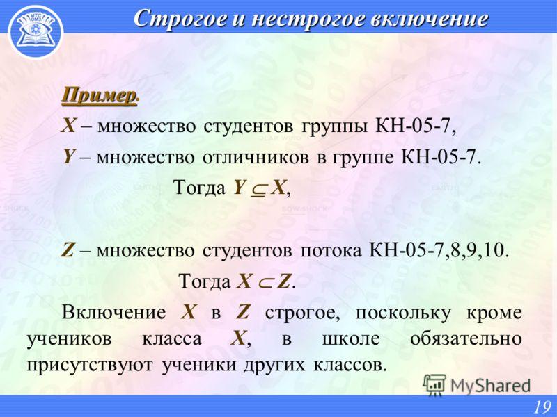 Строгое и нестрогое включение Пример Пример. X – множество студентов группы КН-05-7, Y – множество отличников в группе КН-05-7. Тогда Y X, Z – множество студентов потока КН-05-7,8,9,10. Тогда X Z. Включение X в Z строгое, поскольку кроме учеников кла