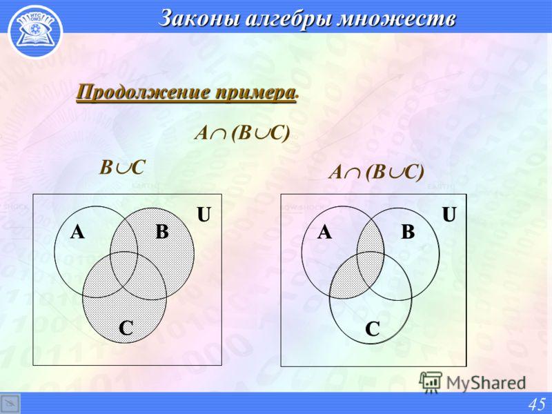 Законы алгебры множеств Продолжение примера Продолжение примера. 45 A B C U В С A B C U А (В С) A B C U A B C U
