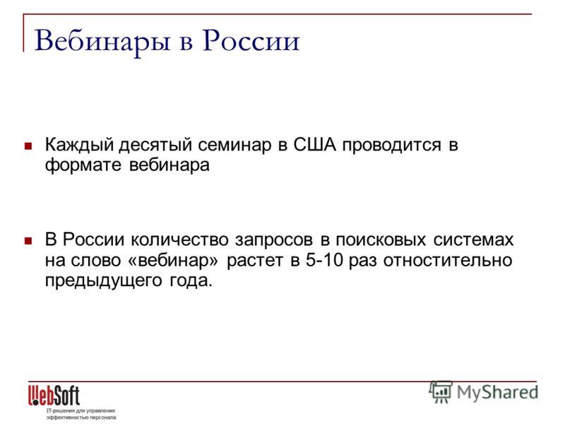 Вебинары в России Каждый десятый семинар в США проводится в формате вебинара В России количество запросов в поисковых системах на слово «вебинар» растет в 5-10 раз отностительно предыдущего года.