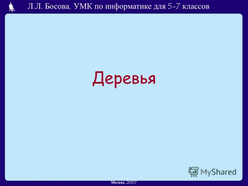 Л.Л. Босова, УМК по информатике для 5-7 классов Москва, 2007 Деревья
