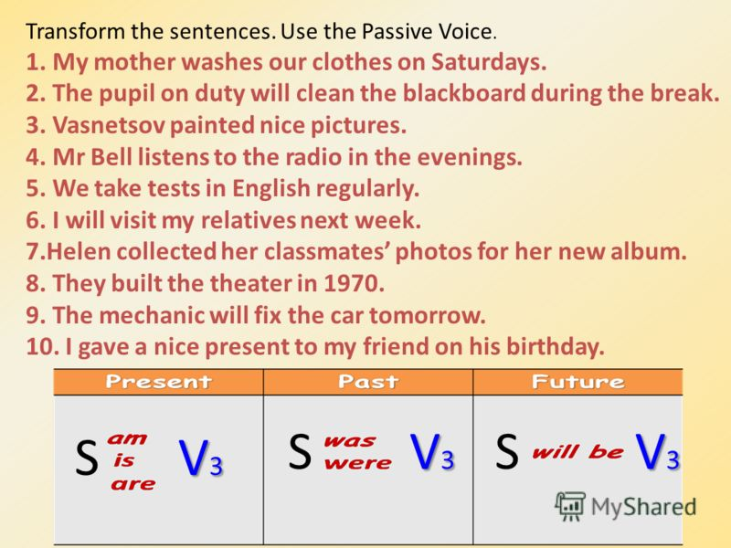 Transform the sentences. Use the Passive Voice. 1. My mother washes our clothes on Saturdays. 2. The pupil on duty will clean the blackboard during the break. 3. Vasnetsov painted nice pictures. 4. Mr Bell listens to the radio in the evenings. 5. We