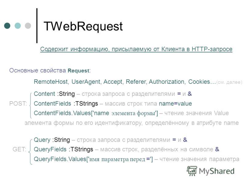 TWebRequest Содержит информацию, присылаемую от Клиента в HTTP-запросе Основные свойства Request : RemoteHost, UserAgent, Accept, Referer, Authorization, Cookies… (см. далее) Content :String – строка запроса с разделителями = и & POST: ContentFields