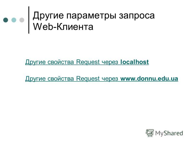 Другие параметры запроса Web-Клиента Другие свойства Request через localhost Другие свойства Request через www.donnu.edu.ua