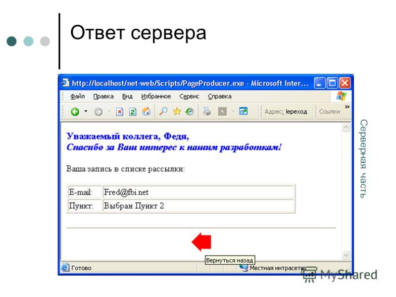 Ответ сервера Серверная часть