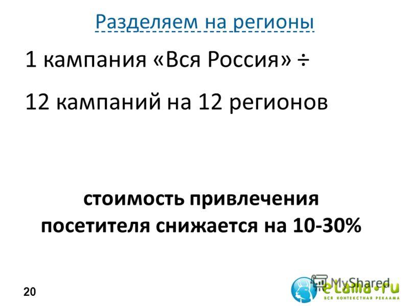 Разделяем на регионы 1 кампания «Вся Россия» ÷ 12 кампаний на 12 регионов 20 стоимость привлечения посетителя снижается на 10-30%